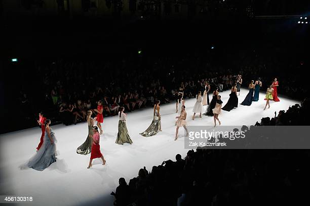 Models walks the runway at the Red Carpet runway show during MercedesBenz Fashion Festival Sydney at Sydney Town Hall on September 26 2014 in Sydney...