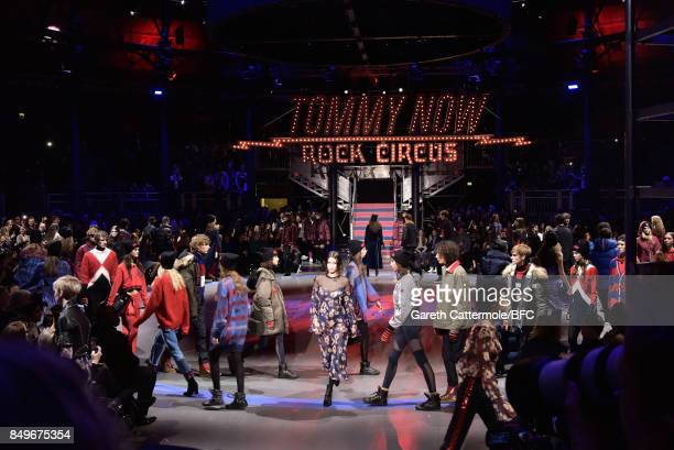Models walks the runway at the Tommy Hilfiger show during London Fashion Week September 2017 on September 19 2017 in London England