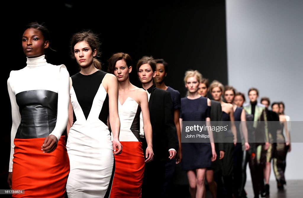 Models walks the runway at the Zoe Jordan show during London Fashion Week Fall/Winter 2013/14 at Somerset House on February 15, 2013 in London, England.