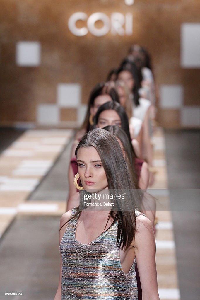 Models walks the runway during Cori show - Sao Paulo Fashion Week Summer 2013/2014 on March 18, 2013 in Sao Paulo, Brazil.