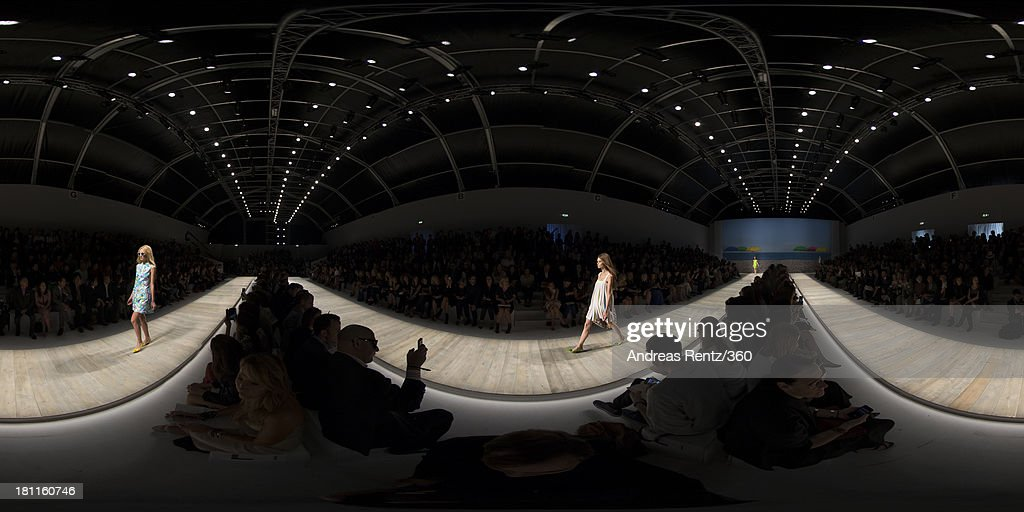 Models walks the runway during the Blugirl show as a part of Milan Fashion Week Womenswear Spring/Summer 2014 on September 19, 2013 in Milan, Italy.