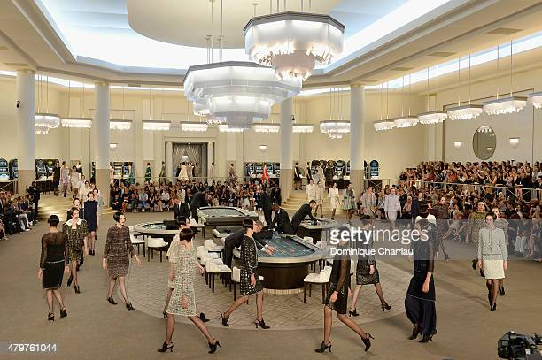 Models walks the runway during the Chanel show as part of Paris Fashion Week Haute Couture Fall/Winter 2015/2016 on July 7 2015 in Paris France