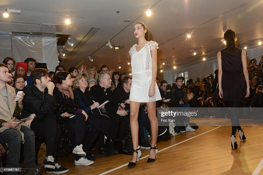 Models walks the runway during the Christine Phung show as part of the Paris Fashion Week Womenswear Fall/Winter 20142015 at Galeries Lafayette...