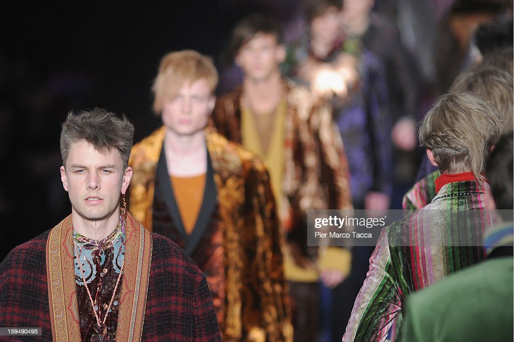 Models walks the runway during the Etro show as part of Milan Fashion Week Menswear Autumn/Winter 2013 on January 14, 2013 in Milan, Italy.