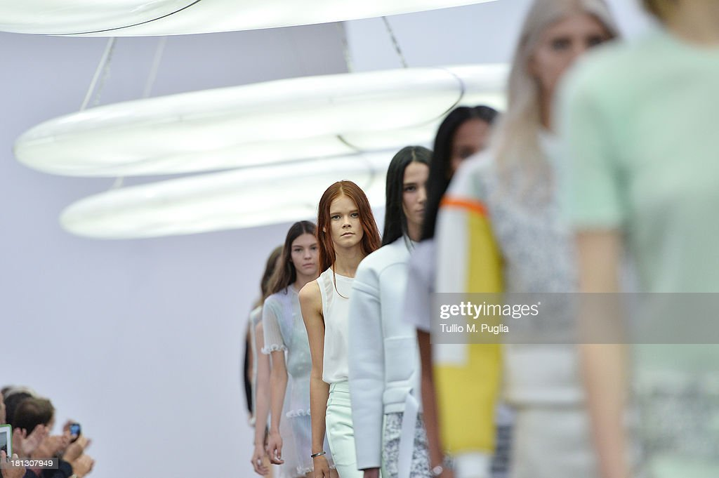 Models walks the runway during the Iceberg show as a part of Milan Fashion Week Womenswear Spring/Summer 2014 on September 20, 2013 in Milan, Italy.