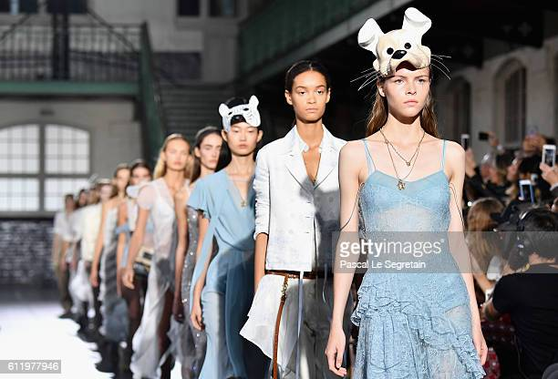 Models walks the runway during the John Galliano show as part of the Paris Fashion Week Womenswear Spring/Summer 2017 on October 2 2016 in Paris...