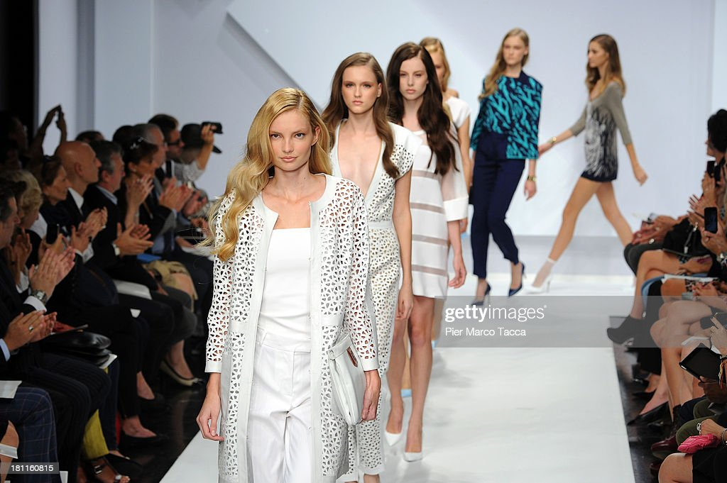 Models walks the runway during the Krizia show as a part of Milan Fashion Week Womenswear Spring/Summer 2014 on September 19, 2013 in Milan, Italy.