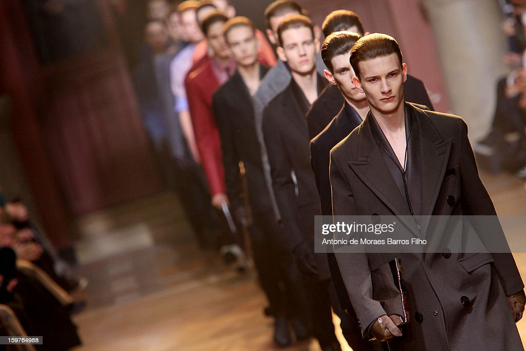 Models walks the runway during the Lanvin Men Autumn / Winter 2013 show as part of Paris Fashion Week on at on January 20, 2013 in Paris, France.