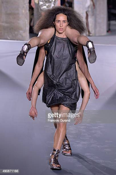 Models walks the runway during the Rick Owens show as part of the Paris Fashion Week Womenswear Spring/Summer 2016 on October 1 2015 in Paris France
