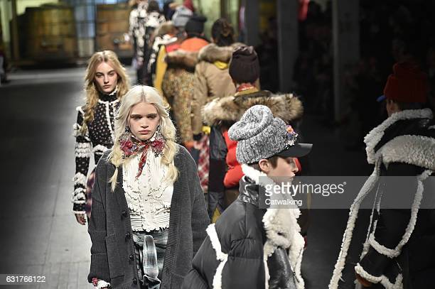 Models walks the runway finale at the DSquared2 Autumn Winter 2017 fashion show during Milan Menswear Fashion Week on January 15 2017 in Milan Italy
