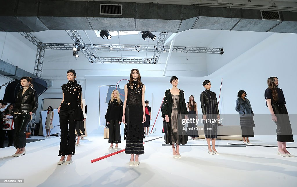 Models wear A Moi Fall 2016 at the A Moi - Presentation at Industria Superstudio on February 11, 2016 in New York City.