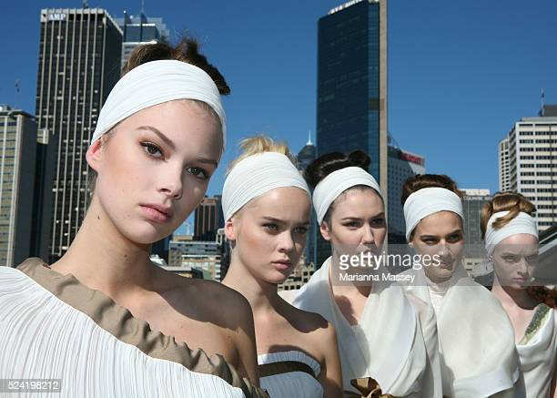 Models wear an outfit from the Spring/Summer 2008/2009 collection by designer Jayson Brunsdon at the Rosemount Australian Fashion Week at the...
