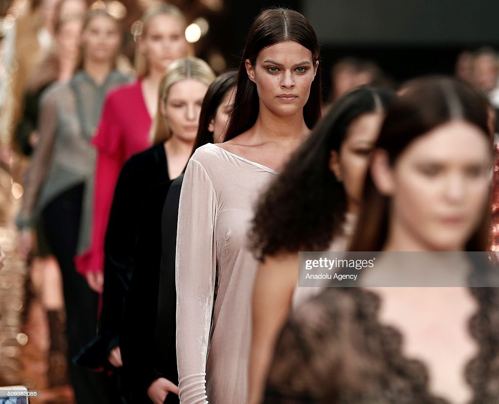 Models wear creations of Couchel's fall-winter 2016/2017 fashion collection presented at the Madrid Fashion Week 2016 on February 10, 2016 in Madrid, Spain.