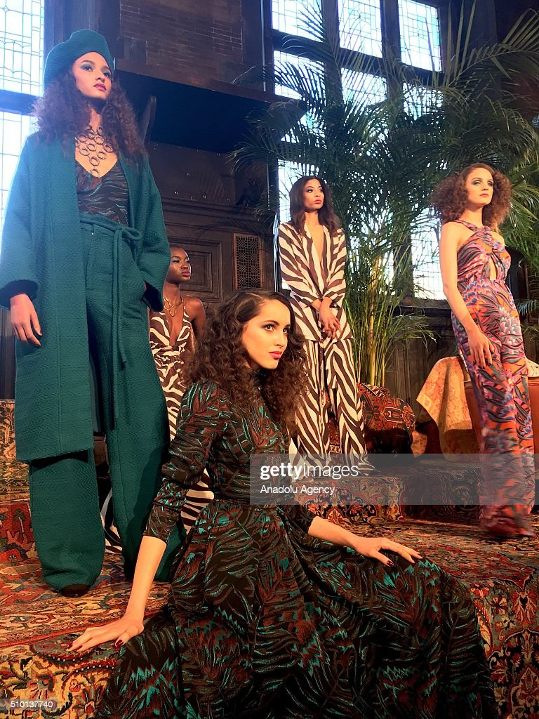 Models wear creations of Mara Hoffman's fall-winter 2016/2017 fashion collection presented at the High Line Hotel within New York Fashion Week on February 14, 2016 in New York, USA.