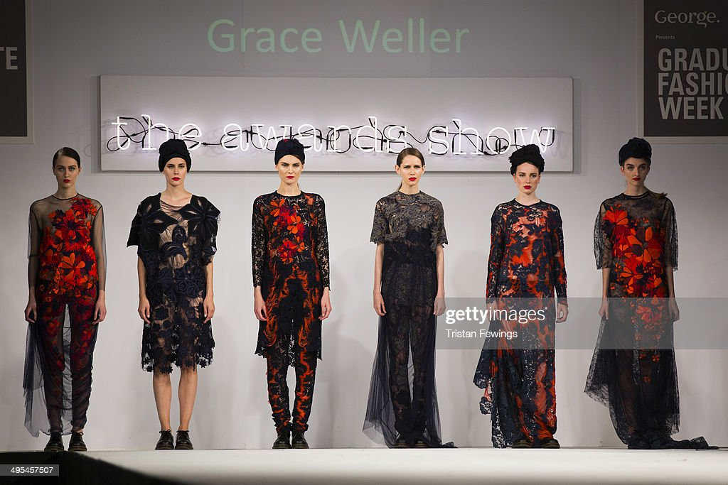 Models wear designs by Grace Weller from Bath Spa University who won the Womenswear Award and the George Gold Award during day 4 of Graduate Fashion Week 2014 at The Old Truman Brewery on June 3, 2014 in London, England.