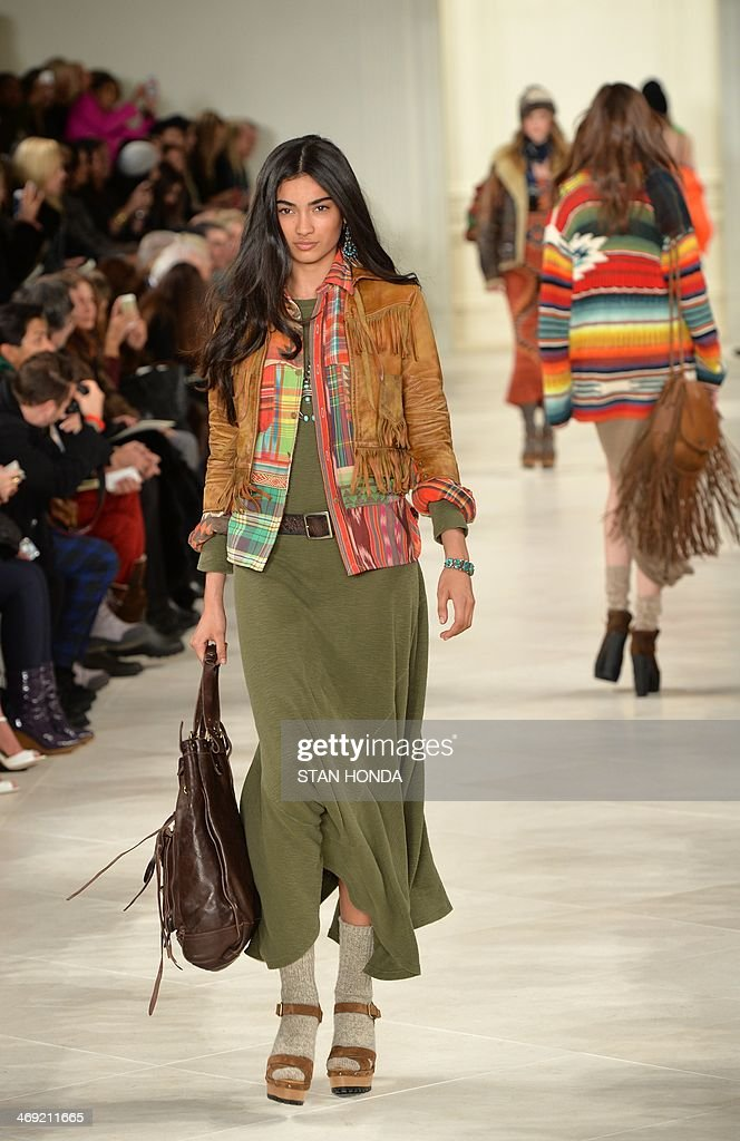 Models wear designs by Ralph Lauren as part of the Mercedes-Benz Fashion Week Fall/Winter 2014 February 13, 2014 in New York. AFP PHOTO/Stan Honda