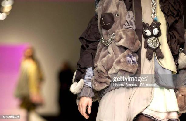 Models wear designs by students during the Lancome Colour Design Awards at the former Saatchi Gallery in central London held in aid of Sargeant...