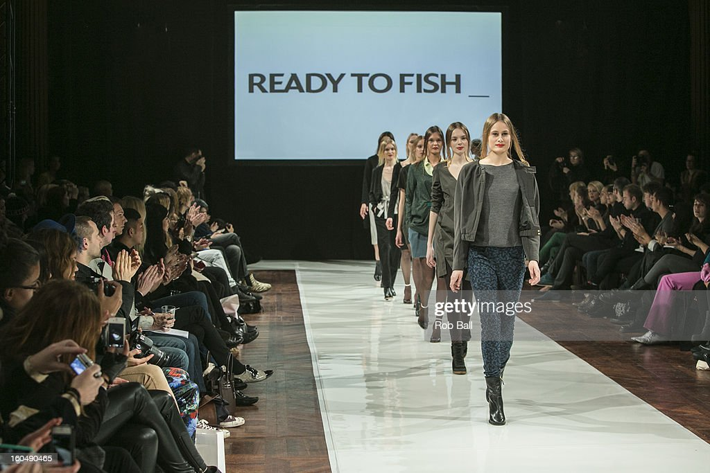 Models wear fashions by Dutch designer Ready To Fish during Day 3 of Copenhagen Fashion Week on February 1, 2013 in Copenhagen, Denmark.