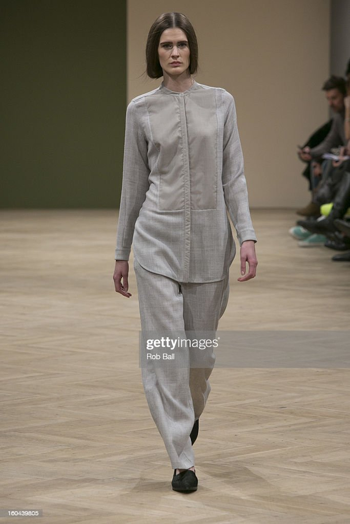 Models wear outfits by Danish Designer Bruuns Bazaar during Day 2 of Copenhagen Fashion Week on January 31, 2013 in Copenhagen, Denmark.