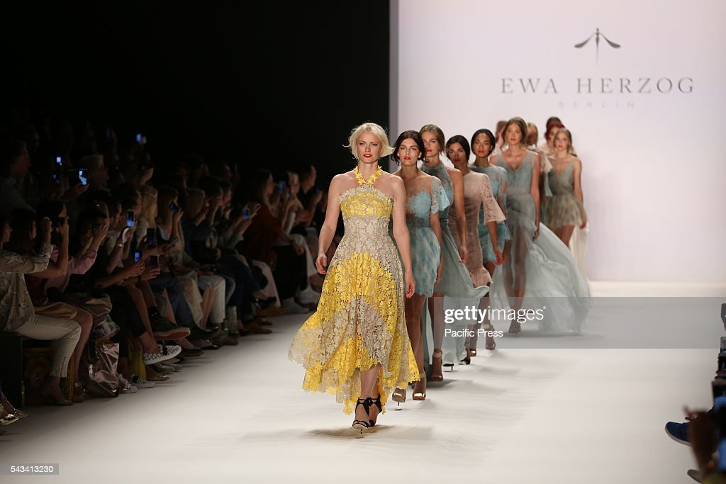 Models wear the collection of Ewa Herzog on the catwalk at the Erika Hess Ice Stadium in Berlin-Weding. The 19th time of the Mercedes-Benz Fashion Week in Berlin. Numerous labels are taking part in the German fashion week for the 2017 spring / summer season.