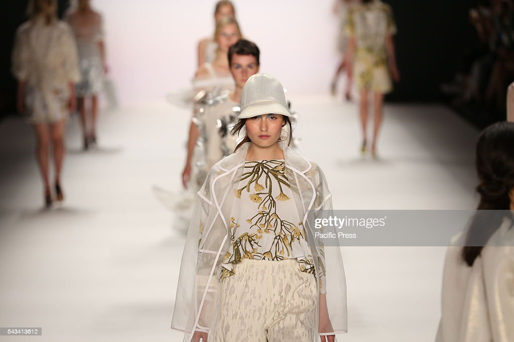 Models wear the collection of Steinrohner on the catwalk at the Erika Hess Ice Stadium in Berlin-Wedding.The 19th time of the Mercedes-Benz Fashion Week in Berlin. Numerous labels are taking part in the German fashion week for the 2017 spring / summer season.