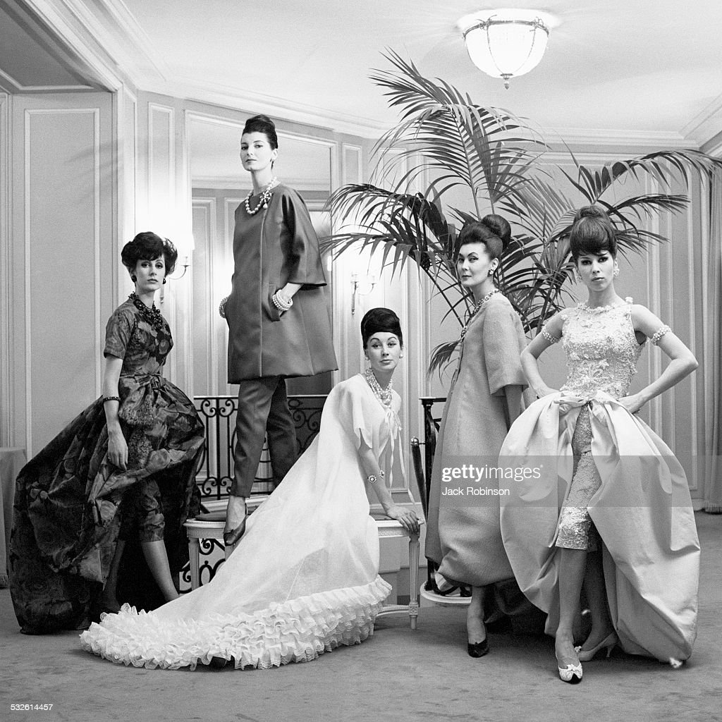 Models wear the latest fashions from the house of Dior, late 1960s.