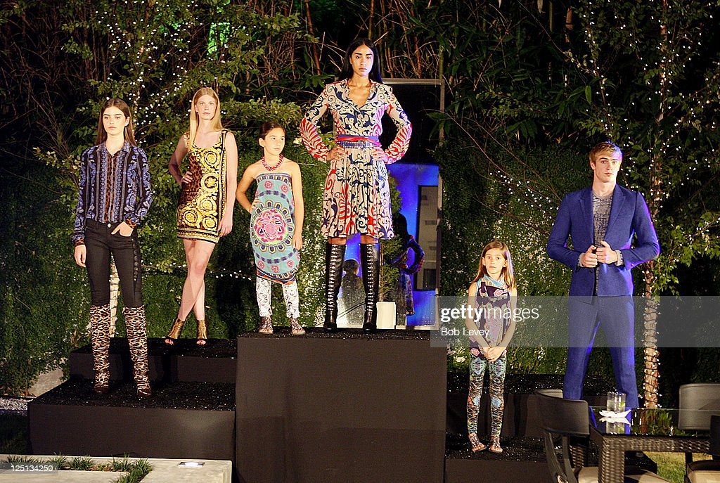 Models wear the latest Versace fashions as Vogue And Versace Celebrate The 2011 Fall/Winter Collection At The Home Of Lucinda Loya on September 15, 2011 in Houston, Texas.