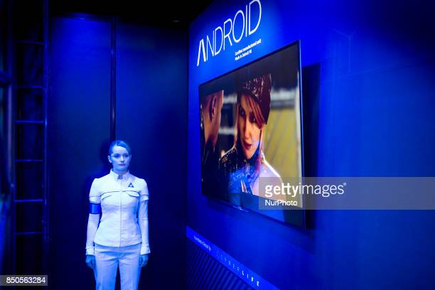 Models wearing android costumes from the Detroit Become Human video game during the Tokyo Game Show 2017 at Makuhari Messe in Chiba near Tokyo 21...