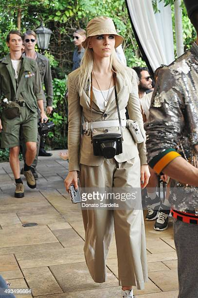 Models wearing Cadet attend CFDA/Vogue Fashion Fund Show and Tea at Chateau Marmont on October 20 2015 in Los Angeles California