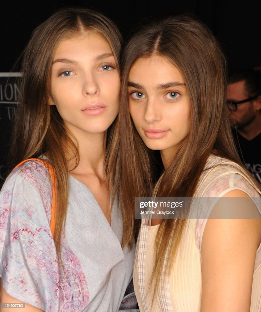 Models wearing Chi products backstage during the BCBG Max Azria Spring 2015 collection at Lincoln Center on September 4 2014 in New York City