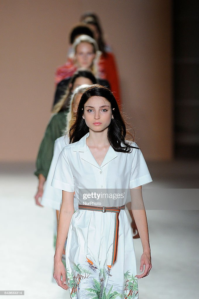 A models wearing clothes from Lebor Gabala during the third day of 080 Barcelona Fashion Week on June 29, 2016 in Barcelona, Spain.