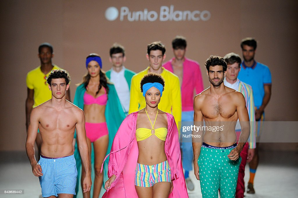 A models wearing clothes from Punto Blanco during the third day of 080 Barcelona Fashion Week on June 29, 2016 in Barcelona, Spain.