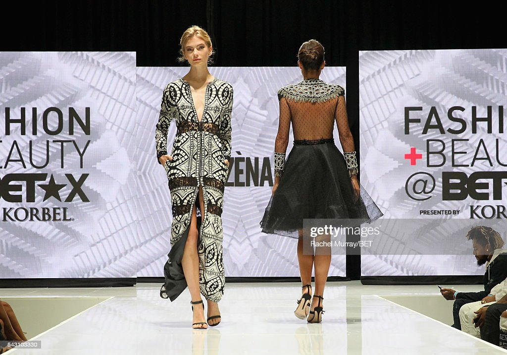 Models wearing Ese Azenabor walk the runway at the Fashion & Beauty @ BETX sponsored by Progressive fashion show during the 2016 BET Experience on June 25, 2016 in Los Angeles, California.