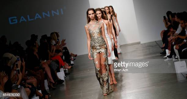 Models wearing Galanni walk the runway during the Fashion Palette Australia runway show during New York Fashion Week Spring 2015 at Pier 59 on...