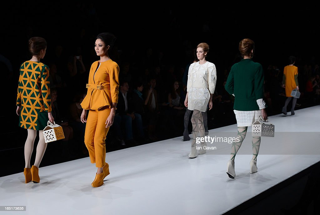 Models wearing Historia Naturalis walk the runway at Belarus Fashion Week Collective Show during Mercedes-Benz Fashion Week Russia Fall/Winter 2013/2014 at Manege on April 1, 2013 in Moscow, Russia.
