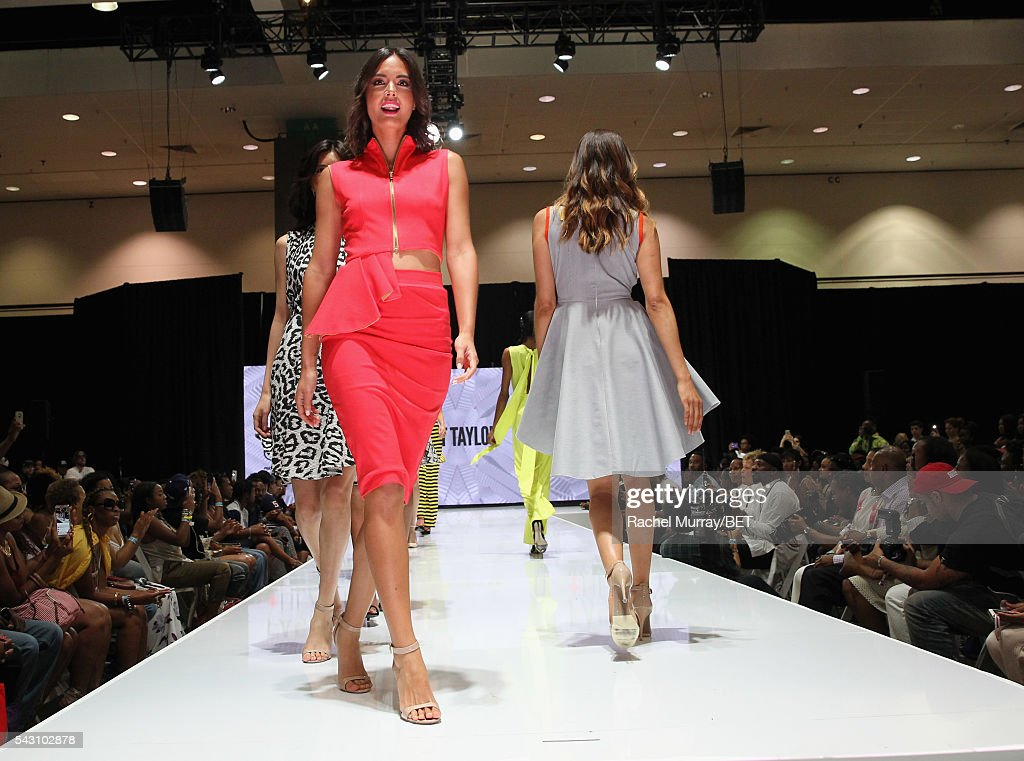 Models wearing Natt Taylor walk the runway at the Fashion & Beauty @ BETX sponsored by Progressive fashion show during the 2016 BET Experience on June 25, 2016 in Los Angeles, California.