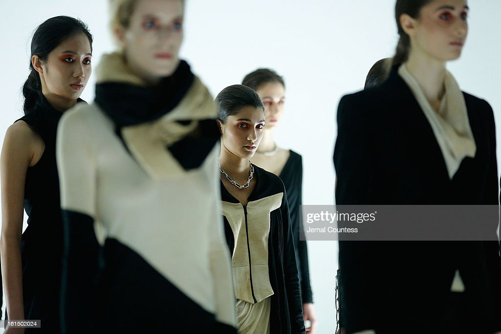 Models wearing Odd fall 2013 on the runway at the Odd fall 2013 presentation during Mercedes-Benz Fashion Week at Industria Superstudio on February 11, 2013 in New York City.