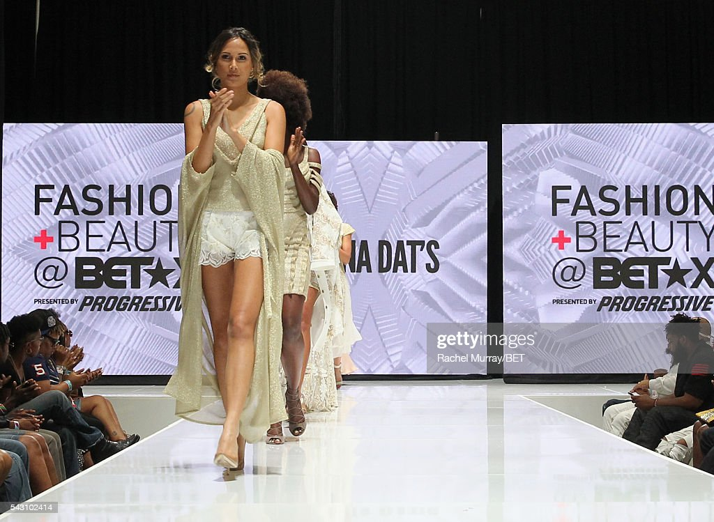 Models wearing Olena Dat's walk the runway at the Fashion & Beauty @ BETX sponsored by Progressive fashion show during the 2016 BET Experience on June 25, 2016 in Los Angeles, California.