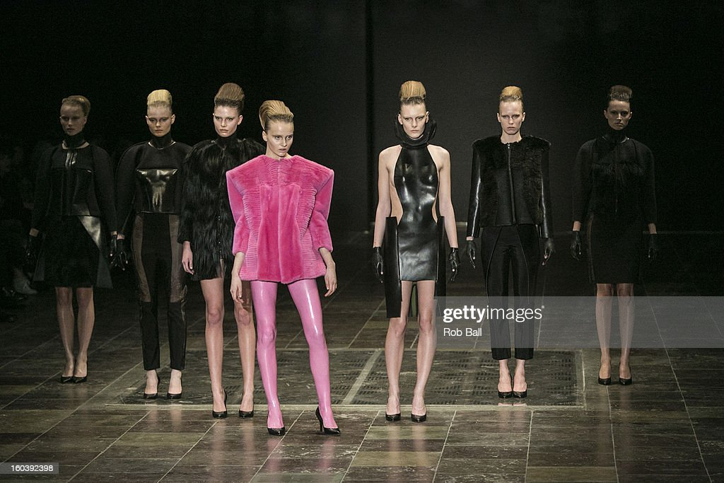 Models wearing outfits by Danish designer Freya Dalsjo during Day 1 of Copenhagen Fashion Week on January 30, 2013 in Copenhagen, Denmark.