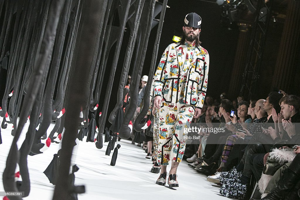 Models wearing outfits by Danish designer Henrik Vibskov during Day 1 of Copenhagen Fashion Week on January 30, 2013 in Copenhagen, Denmark.