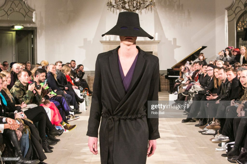 Models wearing outfits by Danish designer Jean//phillip, Jean-Philippe Susilovic, during Day 1 of Copenhagen Fashion Week on January 30, 2013 in Copenhagen, Denmark.