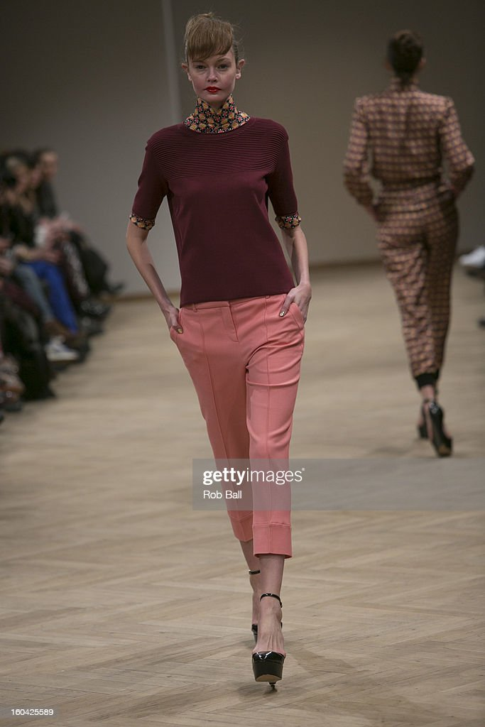 Models wearing outfits designed by Danish Fashion designers Baum und Pferdgarten during Day 2 of Copenhagen Fashion Week on January 31, 2013 in Copenhagen, Denmark.
