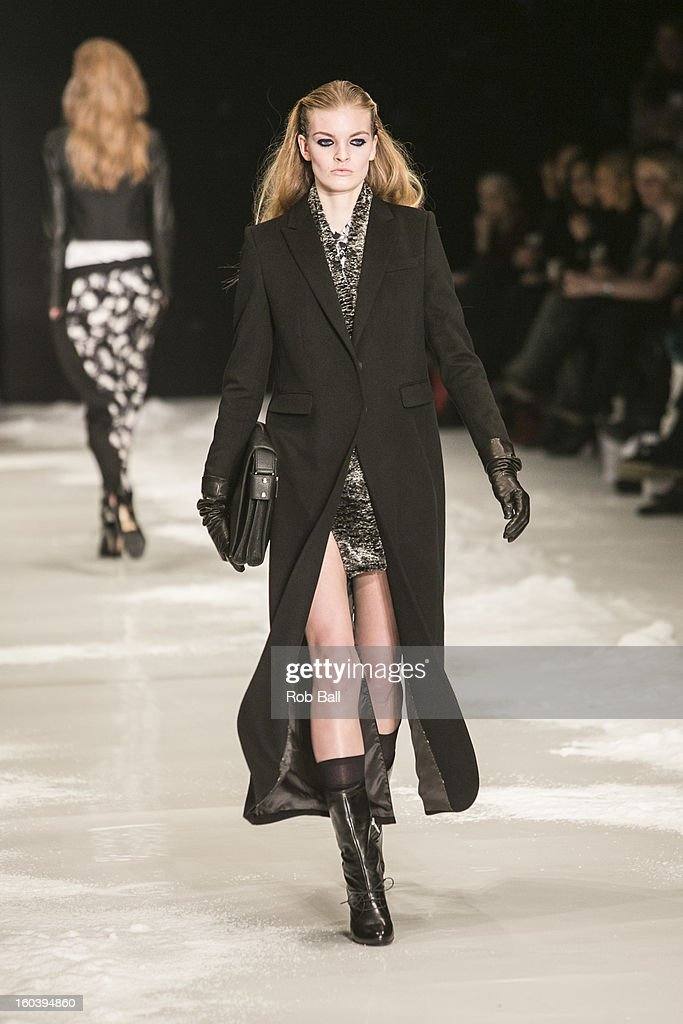 Models wearing outfits designed byf Danish designer Freya Dalsjo during Day 1 of Copenhagen Fashion Week on January 30, 2013 in Copenhagen, Denmark.
