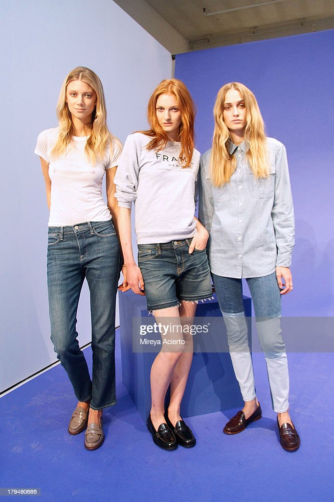 Models wearing Spring 2014 collection at Frame Denim presentation during Mercedes-Benz Fashion Week Spring 2014 at Openhouse Gallery on September 4, 2013 in New York City.