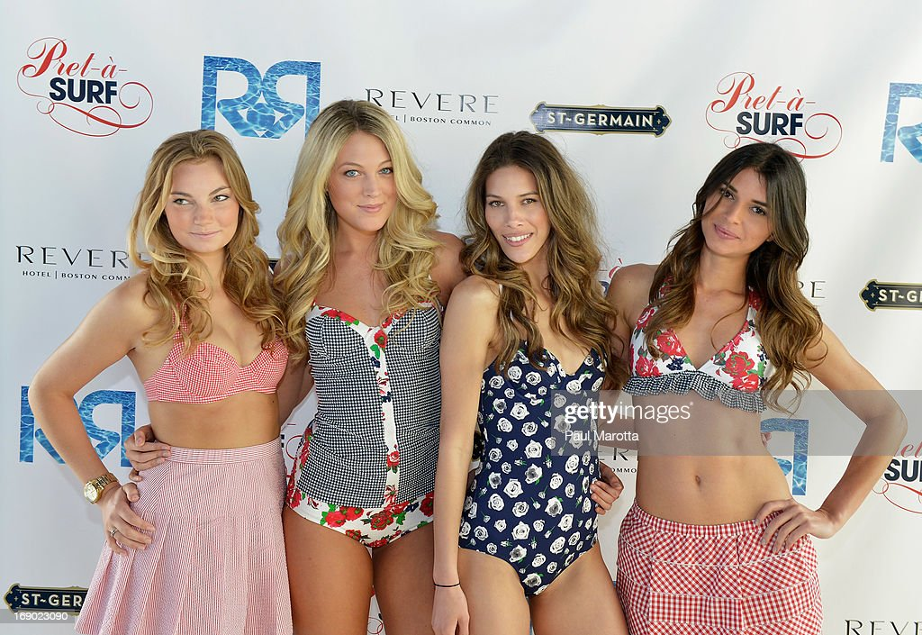 Models wearing the Pret-a-Surf line of swimwear attend Rooftop @ Revere Launch Party at The Revere Hotel on May 18, 2013 in Boston, Massachusetts.
