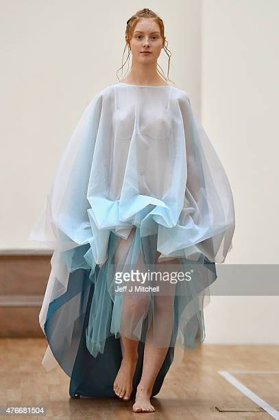 Models wearing the work of designer Maria McAllister down the catwalk at Glasgow School of Art 2015 degree show preview on June the 11 2015 in...