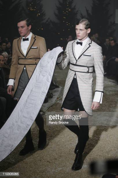 Models wearing Thom Browne Fall 2007 during MercedesBenz Fashion Week Fall 2007 Thom Browne Runway at Exit Art in New York City New York United States