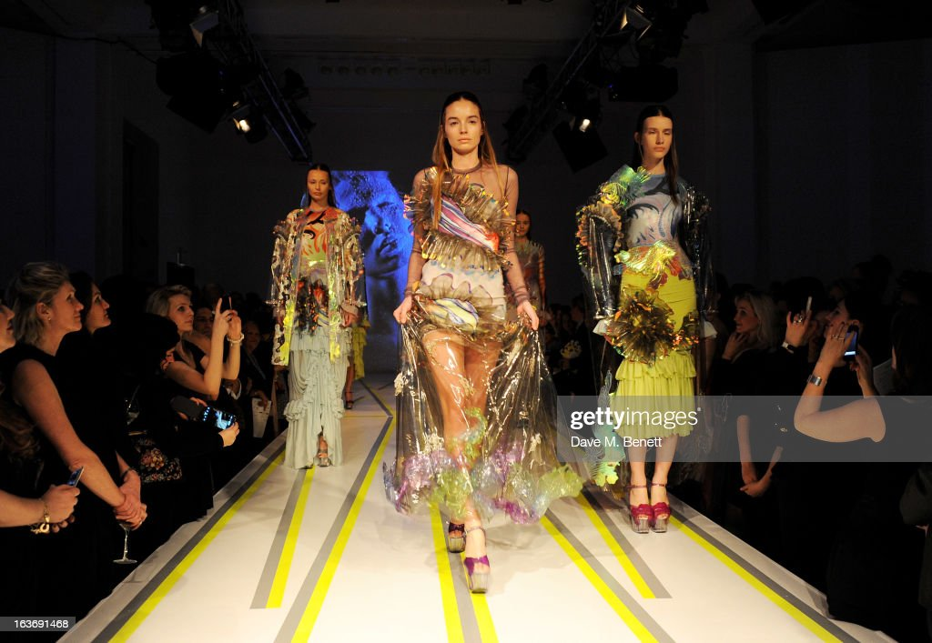 Models wearing Trine Hav Christensen walks the runway at the Swarovski Whitechapel Gallery Art Plus Fashion fundraising gala in support of the gallery's education fund at The Whitechapel Gallery on March 14, 2013 in London, England.