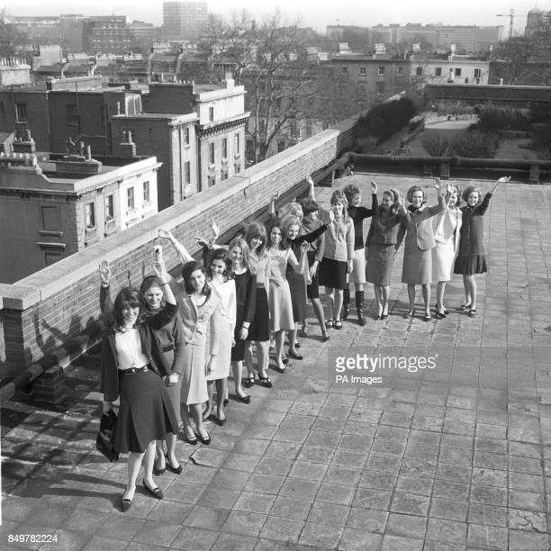 Models who have been chosen to take part in the Berkeley Debutante Dress Show are pictured on the roof of Keyes House in London From left Karen...