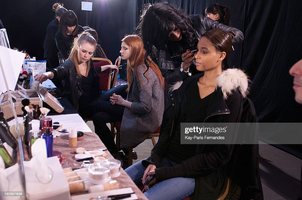 models work backstage at the Tsumori Chisato Fall/Winter 2013 Ready-to-Wear show as part of Paris Fashion Week at The Hotel Westin on March 2, 2013 in Paris, France.